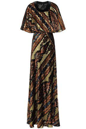 ETRO فستان سهرة من المخمل الديفوريه اللامع مطبع برسومات