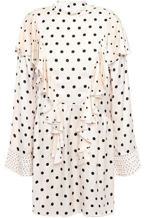 MOTHER OF PEARL Ruffled polka-dot satin mini dress