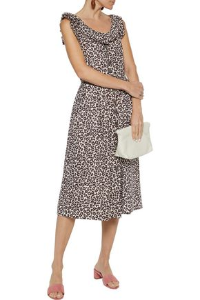 Sea Dresses SEA WOMAN LOTTIE PLEATED LEOPARD-PRINT RAMIE MIDI DRESS ANIMAL PRINT