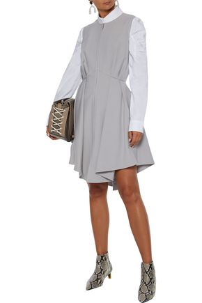 Adeam Dresses ADEAM WOMAN ASYMMETRIC PLEATED TWILL DRESS GRAY