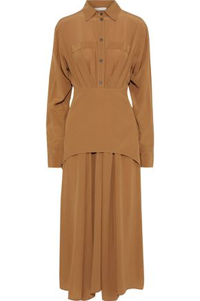 VICTORIA BECKHAM Layered pleated silk crepe de chine midi shirt dress