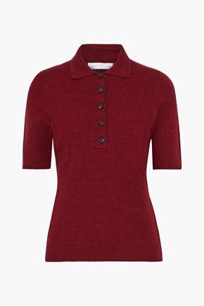 VICTORIA BECKHAM Brushed stretch-knit polo shirt