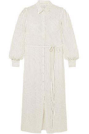 CO Belted striped silk-cady shirt dress