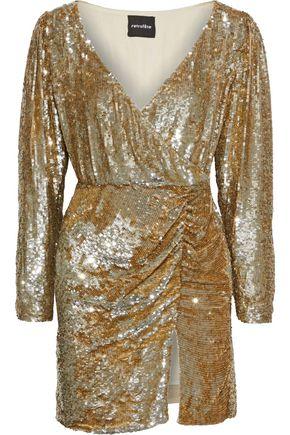RETROFÊTE Roxy wrap-effect sequined tulle mini dress