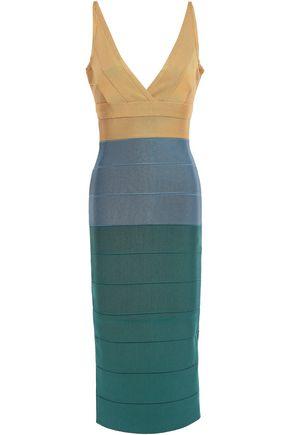 HERVÉ LÉGER Wrap-effect color-block bandage midi dress