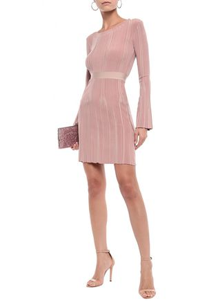 Herve Leger HervÉ LÉger Woman Ribbed-knit Mini Dress Antique Rose