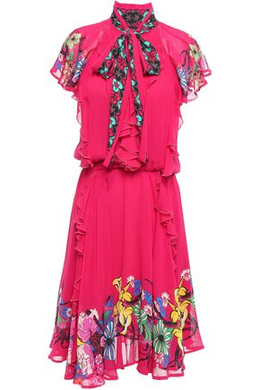 ETRO Pussy-bow ruffled floral-print georgette dress