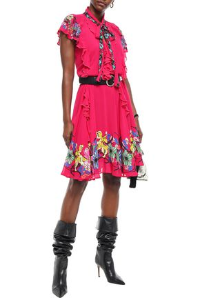 Etro Printed Silk-Blend Dress In Pink