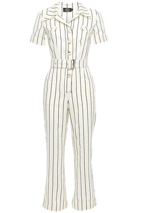 DE LA VALI Cropped belted pinstriped cotton-blend jumpsuit