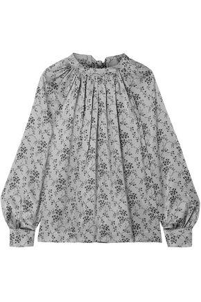 CO Gathered floral-print silk-satin bouse