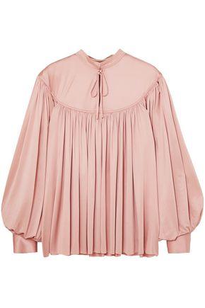 CO Gathered stretch satin-jersey blouse