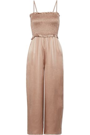 CAMI NYC The Kyla cropped shirred silk-charmeuse jumpsuit