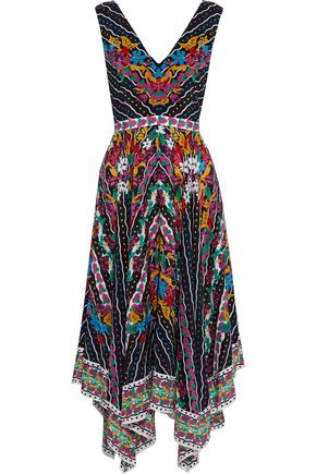 SALONI Zuri asymmetric printed silk crepe de chine dress
