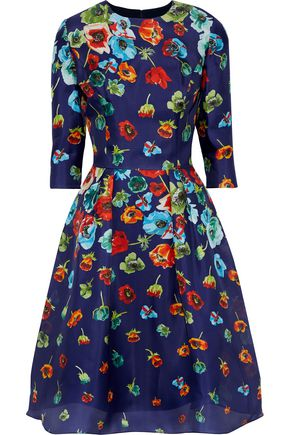 CAROLINA HERRERA Pleated floral-print silk dress