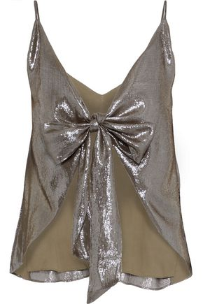CAMI NYC The Arlo bow-detailed silk-blend lamé camisole