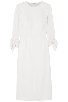 CAROLINA HERRERA Bow-detailed wool-blend twill dress