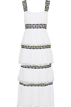 CAROLINA HERRERA Tiered embellished silk-georgette midi dress