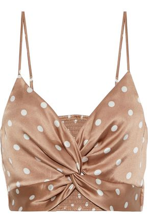 The Kensie Cropped Twist Front Polka Dot Silk Charmeuse Camisole by Cami Nyc