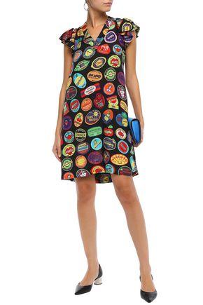 Love Moschino Dresses LOVE MOSCHINO WOMAN PRINTED MOUSSELINE MINI DRESS BLACK
