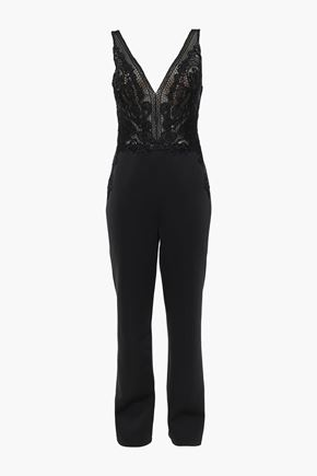 BADGLEY MISCHKA Lace-paneled neoprene jumpsuit