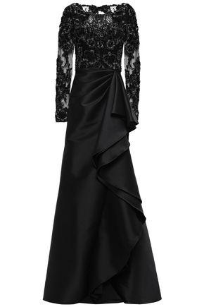BADGLEY MISCHKA 装飾&ラッフル付き チュールパネル ファイユ ロングドレス