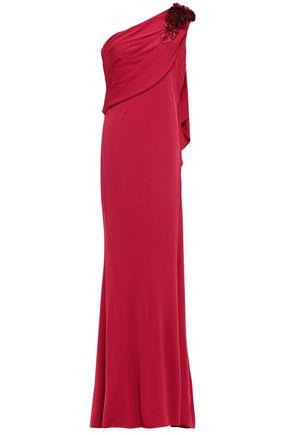 BADGLEY MISCHKA ワンショルダー フローラルアップリケ付き ジャージー ロングドレス