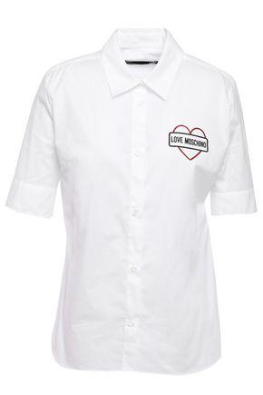 LOVE MOSCHINO Glitter-embellished stretch-cotton poplin shirt