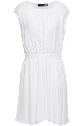 LOVE MOSCHINO Corded lace-paneled crepe mini dress