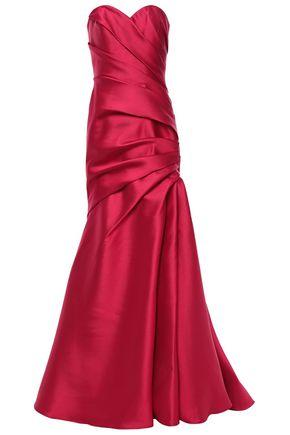 BADGLEY MISCHKA Strapless pleated faille gown
