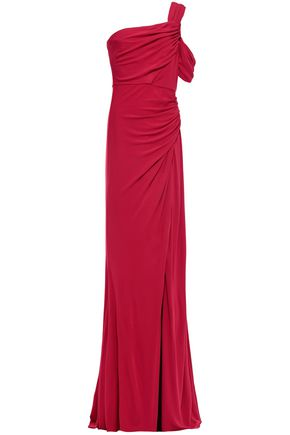 BADGLEY MISCHKA One-shoulder ruched stretch-jersey gown
