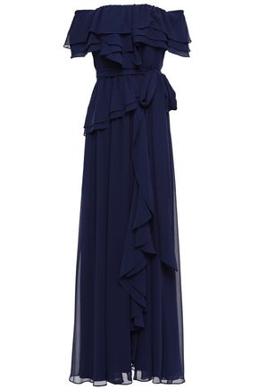 BADGLEY MISCHKA Off-the-shoulder ruffled georgette gown