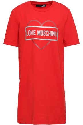 LOVE MOSCHINO Glittered cotton-blend jersey mini dress