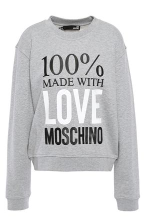 LOVE MOSCHINO Appliquéd printed French cotton-terry sweatshirt