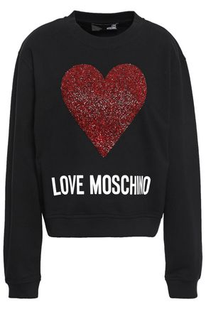 LOVE MOSCHINO Embellished French cotton-blend terry sweatshirt