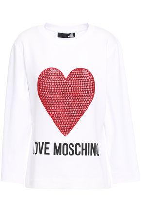 LOVE MOSCHINO Embellished printed French cotton-blend terry sweatshirt