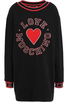 LOVE MOSCHINO Appliquéd French cotton-terry sweatshirt