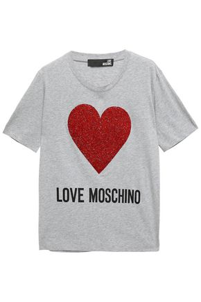 LOVE MOSCHINO Crystal-embellished cotton-jersey T-shirt