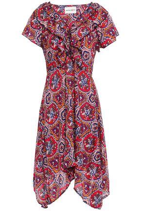 ANTIK BATIK Sam asymmetric ruffled printed voile mini dress