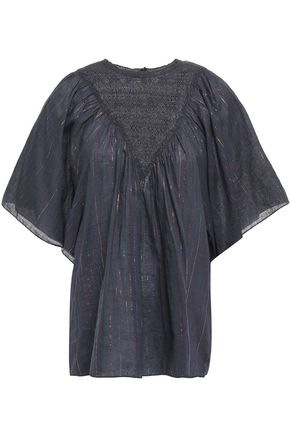 ANTIK BATIK Lace-paneled metallic pinstriped cotton-blend blouse
