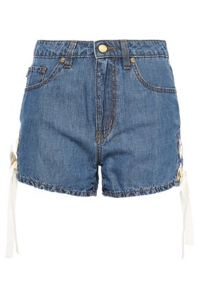 LOVE MOSCHINO Lace-up chambray shorts