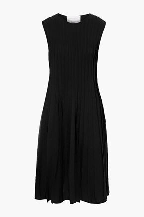 CAROLINA HERRERA Pleated stretch-knit dress