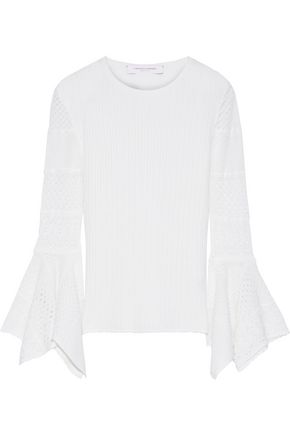 CAROLINA HERRERA Crochet knit-paneled ribbed wool sweater