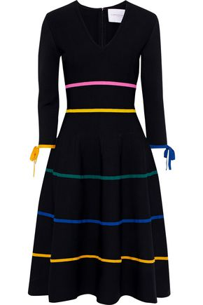 CAROLINA HERRERA Flared striped stretch-knit dress