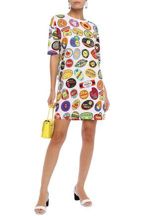 Love Moschino Dresses LOVE MOSCHINO WOMAN PRINTED COTTON-JERSEY MINI DRESS WHITE