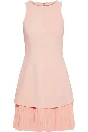 CINQ À SEPT Layered pleated georgette-paneled crepe mini dress