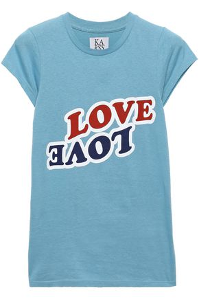 Zoe Karssen Woman Love Love Printed Cotton-jersey T-shirt Light Blue Size L