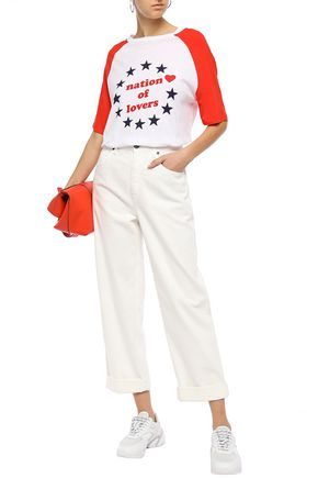 Zoe Karssen Woman Nation Of Lovers Printed Cotton And Linen-blend T-shirt Tomato Red Size Xs