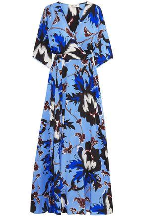 "DIANE VON FURSTENBERG فستان طويل ""إيلوييز"" بتصميم ملفوف من قماش كريب دي شين الحريري المطبع برسومات"