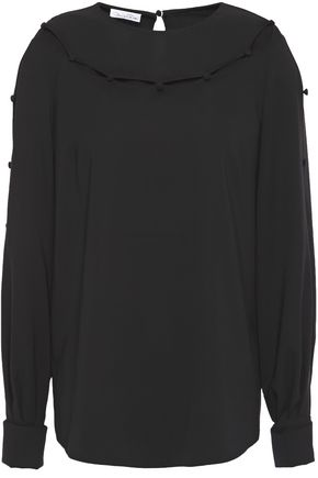 OSCAR DE LA RENTA Cutout button-embellished stretch-silk crepe blouse