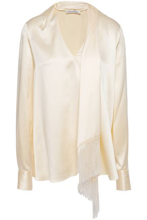 OSCAR DE LA RENTA Draped fringe-trimmed silk-satin blouse